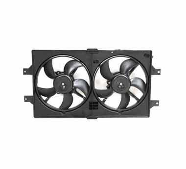 Radiator fan assembly on a white background